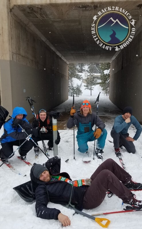 Young Men in Town Skiing