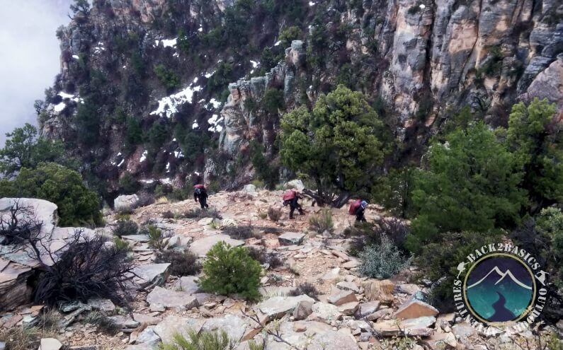 Grand View Men Hiking in Cold